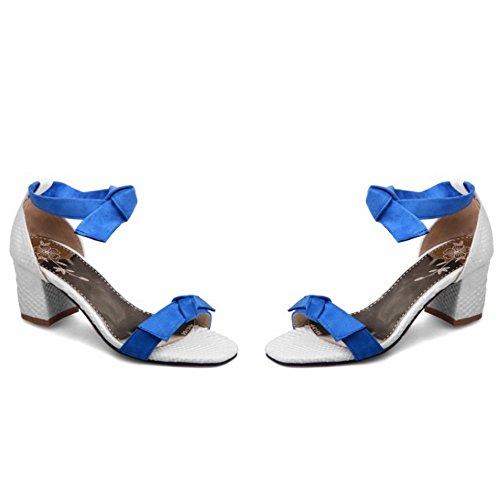 TAOFFEN Mujer Moda Barco Tacon Ancho Verano Sandalias Correa de Tobillo Azul
