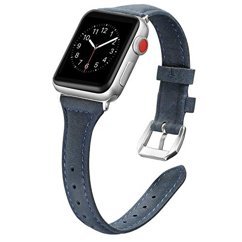 Secbolt Leather Bands Compatible Apple Watch Band 38mm 40mm Stainless Steel Buckle Replacement Slim Wristband Sport Strap Iwatch, Series 4/3/ 2/1, Edition, Navy Blue