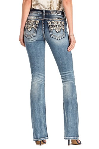 Miss Me Come Together Aztec Medium Wash Mid Rise Boot Cut Jeans M3178B, 26 - Miss Me Leather Jeans
