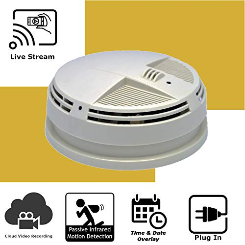 Discover IT | Wi-Fi Hidden Camera Spy Cam Home Surveillance Nanny Cam Night Vision Smoke Detector (Side View) with Cloud Video Recording