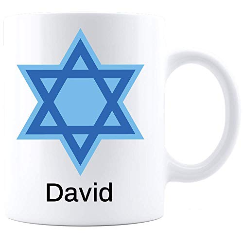 Star of David Mug Personalized! Bar Mitzvah Boy Gift Ideas Bat Mitzvah Girl Gifts Custom Name Hanukkah Coffee Cup Jewish Judaica Confirmation Graduation Customized Judaism Theme Gifts Men Women -