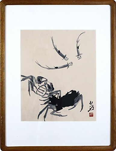 IglooArts- Giclee Print of Contemporary Asian Paintings - Crabs and Fish - Qi Baishi - Price Cut by 30% for Holidays - Framed and Ready to Hang - 19