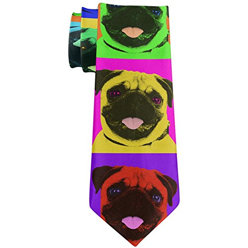 Pug Puppy Pop Art All Over Neck Tie Multi Standard One -