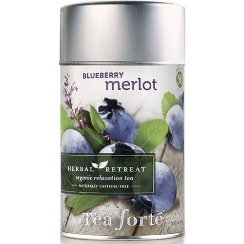 Tea Forte Organic Blueberry Merlot Herbal Retreat Relaxation Tea, 3.17 Ounce - 4 per - Wine Herbal Merlot