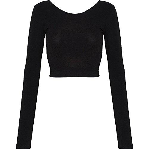 American Apparel Womens/Ladies Long Sleeve Cotton Spandex Crop Top Black