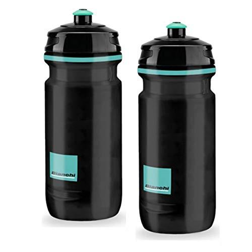 - Elite Bianchi Loli Water Bottles - 600ml, Black, Square Design (2 Pack)