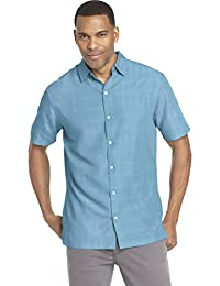 486a0981 Men's Air Short Sleeve Button Down Poly Rayon Stripe Shirt