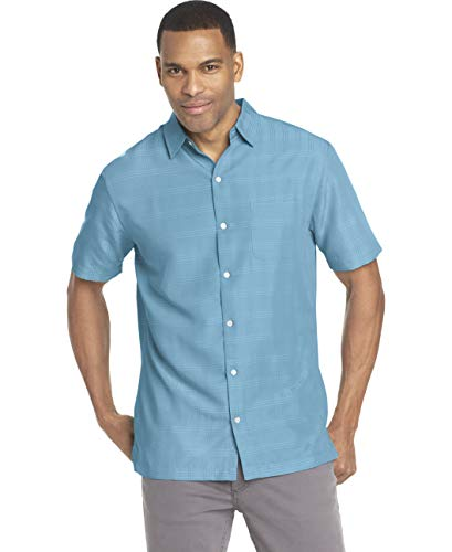 Van Heusen Men's Air Short Sleeve Button Down Poly Rayon Stripe Shirt, Aqua Delphinium, Medium