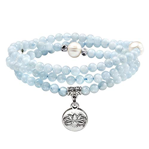 - Top Plaza 4mm Tibetan Natural Aquamarine Pearl Healing Crystal Gemstone 108 Mala Prayer Beads Stretch Bracelet Necklace with Lotus Charm