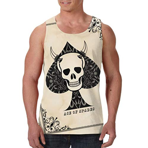 Tank Tops Ace of Spades Rose Death Card Tank Top Sleeveless Gym Workout Shirt for Mens