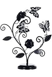 Decorative Metal Butterfly & Flower Design Jewelry Hanging Stand / Necklace Tower - MyGift®