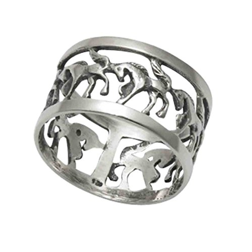 Wild Things Sterling Silver Openwork Galloping Horses Band Ring (10) (5) (Galloping Horse Ring)