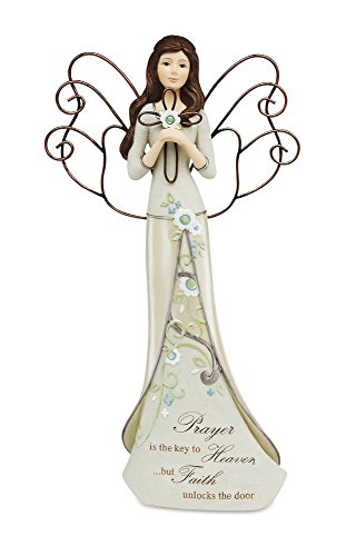 Perfectly Paisley Prayer Angel Holding Cross by Pavilion, Reads Prayer is The Key to Heaven...but Faith Unlocks The Door, 12-inches Tall