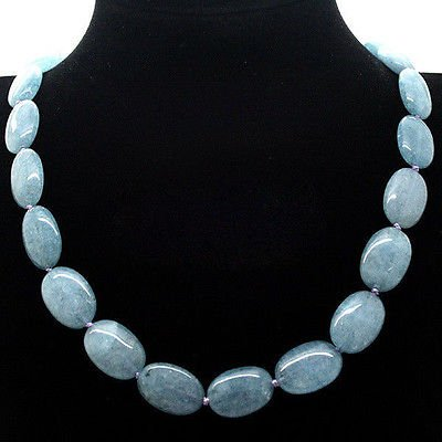 Natural 13x18mm Brazilian Aquamarine Gemstones Oval Beads Necklace 18""