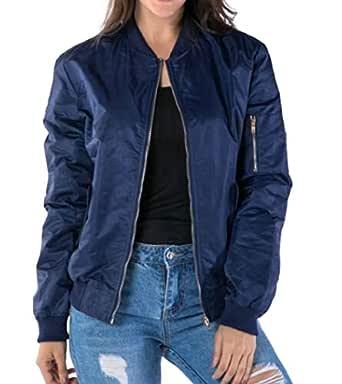 Macondoo Womens Plus Size Stand Collar Flight Zipper Front Warm Jackets Coat Dark Blue 3X-Large