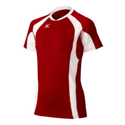 Mizuno Women's Techno Volleyball V Shorts Sleeve Jersey, Red/White, Small