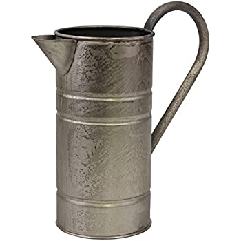 Stonebriar Antique Vintage Silver Metal Drinking Pitcher with Handle, Farmhouse Home Decor Accents