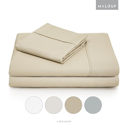 WOVEN 600 Thread Count Luxurious Feel Soft Cotton Blend Sheet Set with Deep Pocket Design - Twin XL - Driftwood