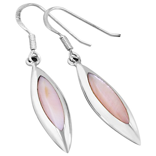 Pink Mother Of Pearl Ring (Sterling Silver Pointed Oval Dangle Earrings with Pink Mother of Pearl)