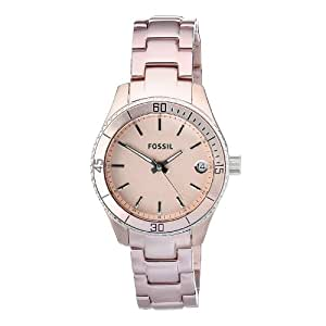Fossil Women's ES2927 Quartz Stainless Steel Pink Dial Luminous Measures-Second Watch