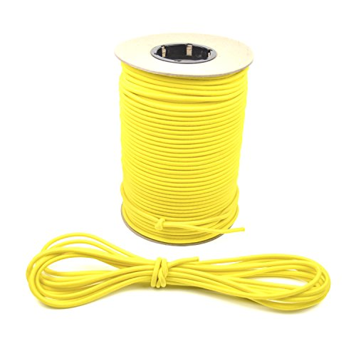 "Marine Masters 1/4"" 500ft Spool Yellow Bungee/Shock Cord Crafting Stretch String, Tie Down Trailer Strap (500 Feet)"