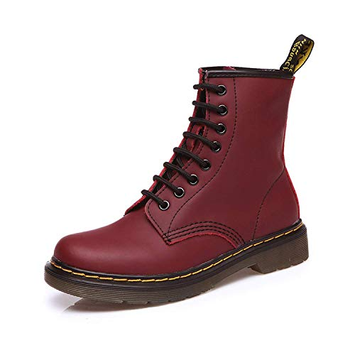 2019 Split Leather Women Boots Dr Martin Boots Shoes High Top Motorcycle Autumn Winter Shoes Woman Snow Boots ST50,42MEU,WineRed (Michelle D Boots)