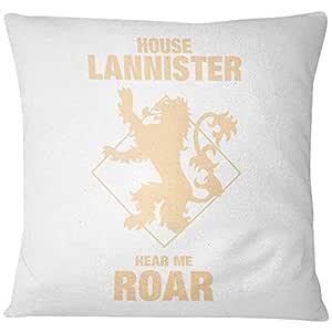 Home Design House Lannister Hear Me Roar Printed Cushion - Yellow/White, 40 x 40 cm