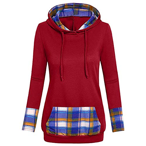 - DEATU Sale Womens Tops Blouse Tunic Sweatershirt Women Plaid Hooded with Kangaroo Pocket V-Neck Hoodies(Red a,Large