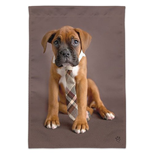 Graphics and More Boxer Puppy Dog Sitting with Tie Garden Ya