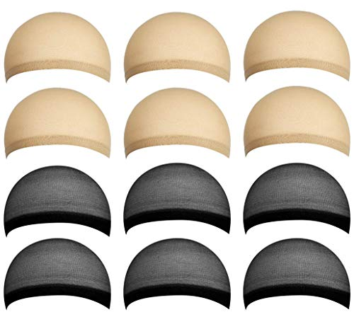 12 Pack Nylon Wig Caps, Stocking Wig Caps, Stretchy Nylon Close End Wig Caps for Women and Men, One Size (Black and Beige)