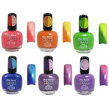 Mia Secret Mood Nail Lacquer Color Changing Nail Polish 6pc Set (6 Different Colors)