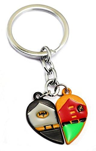 Batman and Robin 2 Piece Split Heart Enamel Metal Keychain (Enamel Multi Heart)