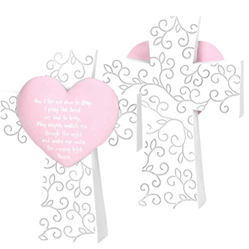 - Contemporary Home Living Now I Lay Me Down to Sleep Prayer Pink Heart Table Top White Resin Cross; 5