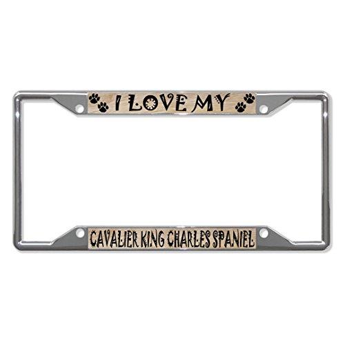 Cavalier King Charles Spaniel Metal License Plate Frame Tag Holder Four Holes Perfect for Men Women Car garadge Decor