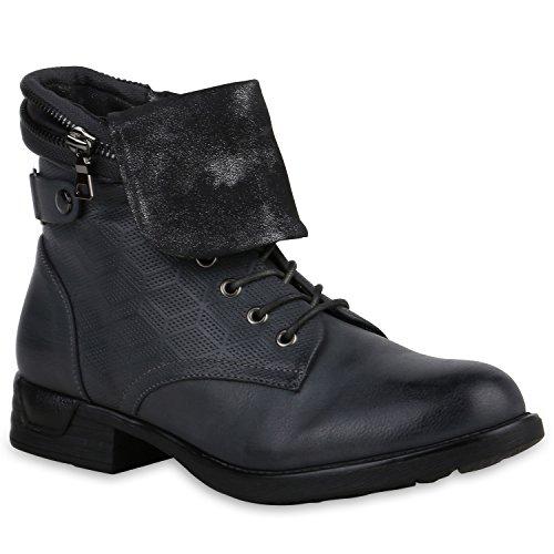 Stiefelparadies Damen Stiefeletten Leicht Gefüttert Schnürstiefeletten Schuhe Flandell Grau