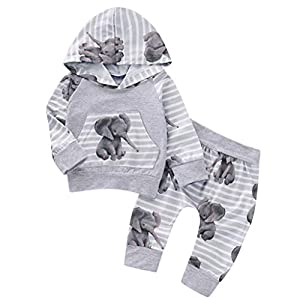0-18Months,Zimuuy Newborn Baby Girls Boy Elephant Printed Hooded Tops Striped Pants Autumn Clothes Tracksuit Outfits…