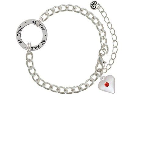 Large July - Red Crystal Heart Be True Be You Be Kind Affirmation Link Bracelet (Light Link Heart Bracelet)