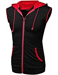 Mens Casual Sleeveless Hoodie Zip Up Vest with Pockets