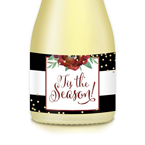 Mini-Champagne or Wine Bottle Labels, Merry Christmas