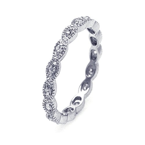 Double Accent Sterling Silver Rhodium Plated, Filigree CZ Stackable Eternity Ring wedding Bands Size 8 ()