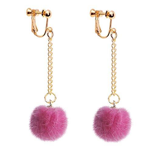 (Hairball Clip on Earrings non Pierced Dangle Drop Ball Tassel Thread for Women Girls Bohemian Boho Pink)