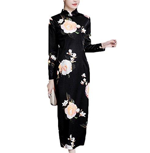 後継作るヒール[もうほうきょう] チャイナドレス レディース ロングワンピース 秋の新型 長袖 中国風 秋冬モデル
