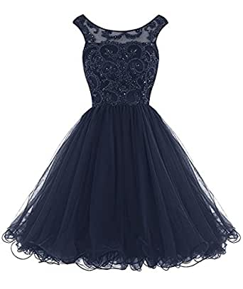 MyLilac Short Beading Prom Dress Tulle Applique Homecoming Dress Navy US22w