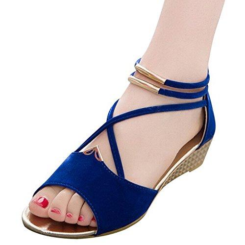 Minetom Damen Sommer Sandalen Peep Toe Schuhe Retro Stil Keilabsatz Sandalen Blau