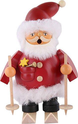 Müller German incense smoker Santa Claus on skis, height 16 cm / 6 inch, original Erzgebirge by Mueller Seiffen ()