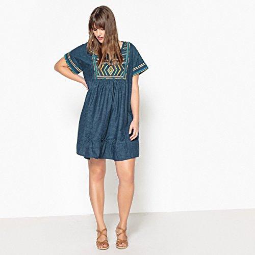 Form Castaluna Redoute Gerader Mit Besticktes La Kleid Armeln Kurzen Frau Blau Und wqUx6BB7S