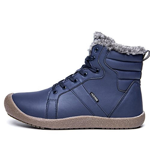 L-RUN Womens Winter Snow Boots Waterproof Outdoor Ankle Booties Comfortable Fur_navy H1HkwxEX