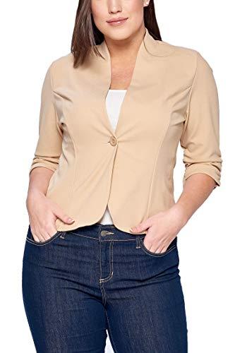(Women's Junior Plus Solid Ruched Quarter Sleeves Blazer Suit Jacket Beige 3X)