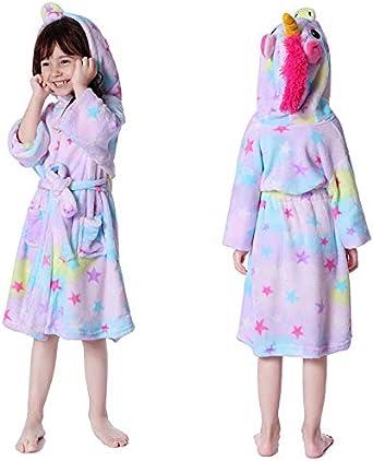 Girls Pink Unicorn Warm Soft Fleece Dressing Gown Bath Robe Bedtime Nightwear