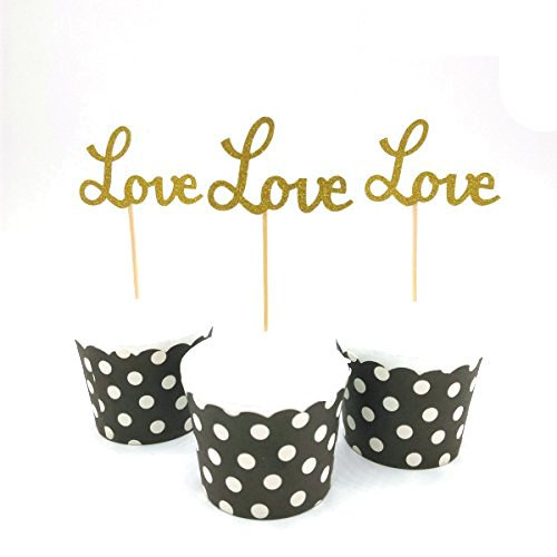 Hemarty 24pcs Gold Love Cupcake Topper Valentine's Day Decoration Birthday Wedding Party Decoration ()